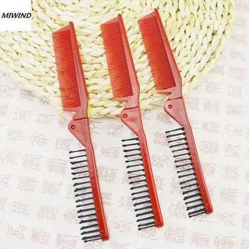 Antistatic Double Side Hairdressing Comb Travel Foldable Pocket Hair Brush Head