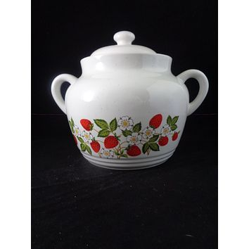 Strawberries & Cream Stoneware Cookie Jar/Soup Pot