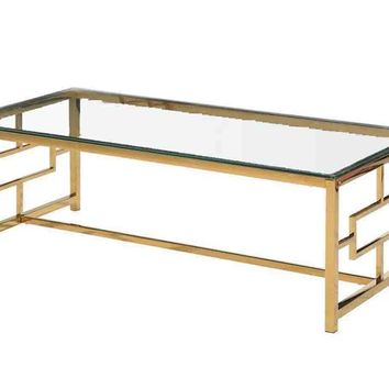 Aesthetic Stainless Steel And Glass Cocktail Table, Gold
