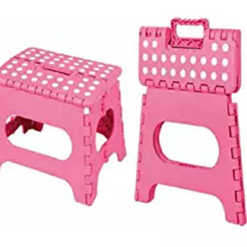 Honey-Can-Do Folding Step Stool, Pink