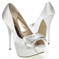 Qupid Women's NEUTRAL219 Bow Open Peep Toe Silver Crystal Studded Bridal Party Platform Stiletto High Heel Pump Sandal Shoes, White Satin, 7.5 B (M) US