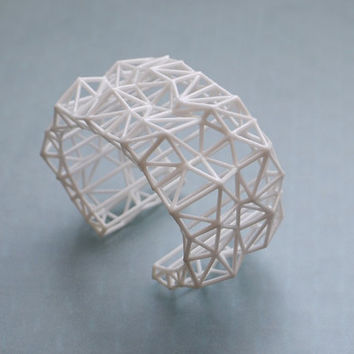white geometric cuff - Faceted Cuff bracelet in White. 3d printed statement jewelry. winter fashion, modern