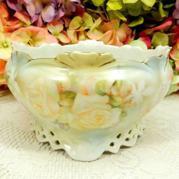 Beautiful Antique Royal Bayreuth Porcelain Footed Bowl Yellow Pink Roses Flowers