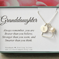 Gift for Granddaughter necklace sterling silver initial heart freshwater pearl necklace personalized graddaughter's birthday gift