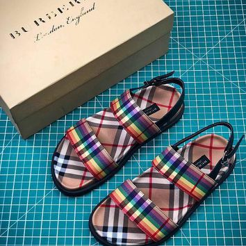 18SS Burberry Rainbow Vintage Check Classic Leisure Sandals #2-