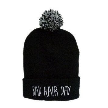 Europe and America Bad Hair Day Embroidered with Ball Hiphop Skullies & Beanies Hat Knit Wool Cap RX013