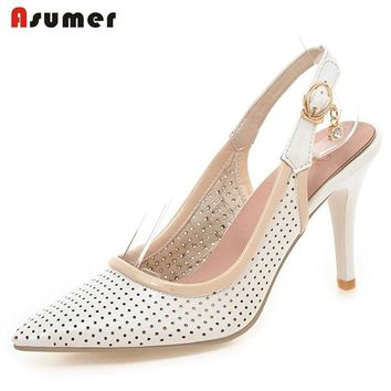 ASUMER Big size 33-43 new fashion women pumps pointed toe slingbacks fashion party wedding shoes woman sweet ladies summer shoes
