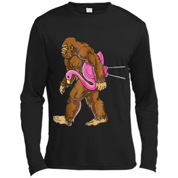 Bigfoot Carrying Lawn Flamingo Funny Sasquatch Tees Long Sleeve Moisture Absorbing Shirt