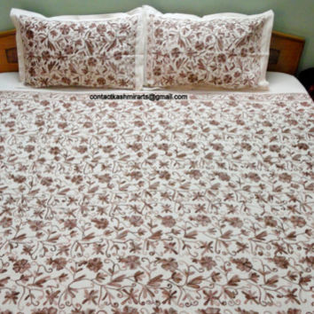 Embroidered Coffee Pastel Bedspread/Fitted sheet/floral Bedding set/CA King size/Queen/Double/Twin/Single/Brown Beige/Duvet Cover/Doona