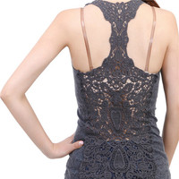 Summer New Fashion Womens Tank top Sexy t-shirts Crochet Back Hollow-out woman Vest Camisole lace Gray, Black& White vest