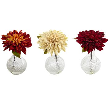 Artificial Flowers -Dahlia With Decorative Vase -Set Of 3 Arrangement Silk Flowers