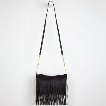 Deb & Dave Fringe Crossbody Bag Black One Size For Women 24130710001