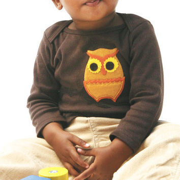 Autumn Owl on Brown Applique Tee or Onesuit