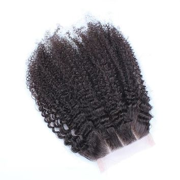 4x4 Lace Closure Three Part Mongolian Afro Kink Curly Closure Pre Plucked Human Remy Hair With Baby Hair Bleached Knots