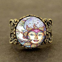 Sun and Moon Vintage Sun and Moon Ring sun face god women men jewelry 1pcs/lot steampunk adjustable rings for friends gift