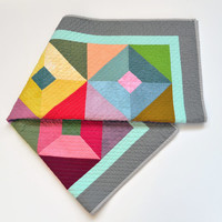 Baby Quilt, Modern Baby Quilt, Geometric Baby Bedding, Quilted Wall Hanging, Bright Crib Quilt