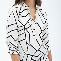 White Line Print Mandarin Collar Button-Up Long Sleeve Shirt