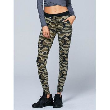 Button Decorated Camouflage Pencil Pants - Army Green Camouflage M