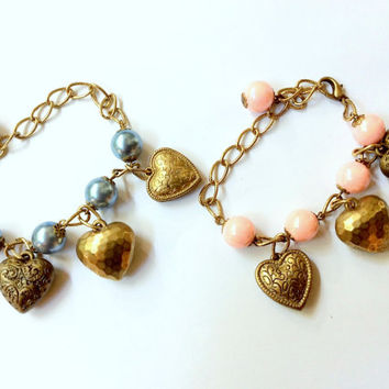 love - love - love charm bracelet: triple vintage hearts charm with rose pink or serene blue beads