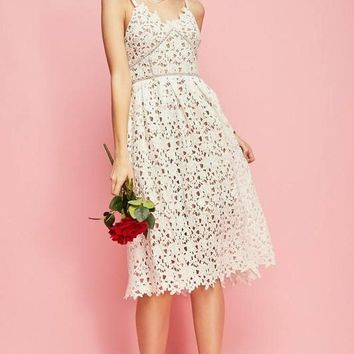Minka White Crochet Lace Fit And Flare Midi Dress