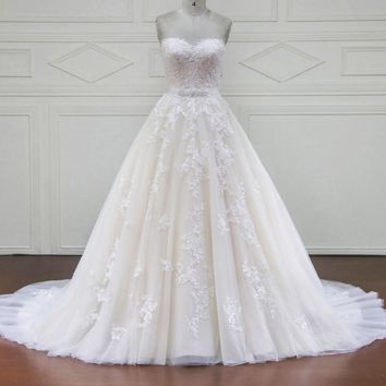 Luxury Wedding Dresses Royal Train Lace Appliques Off the Shoulder Wedding Dress