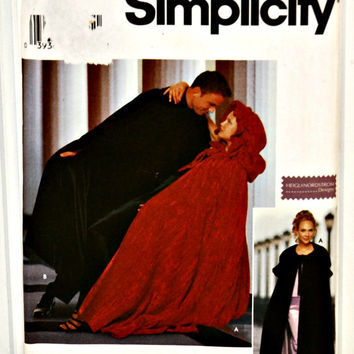 Simplicity 9452 (c. 2000) Size M and L, Heigl & Nordstrom Designs Capes For Misses', Men's and Teens', Role Playing, Halloween, Theater