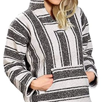 Unisex Grey & White Mexican Poncho - Baja Hoodie Jacket Sweater - Joe