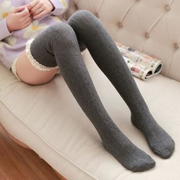 Long Stockings Women Knitting High Knee Socks Cotton High Tight Knitted Lace Hem Christmas Autumn Winter Warm Stocking Tights