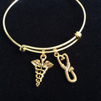 Gold Stethoscope and Caduceus Charm on an Expandable Adjustable Bangle Bracelet Doctor or Nurse Gift