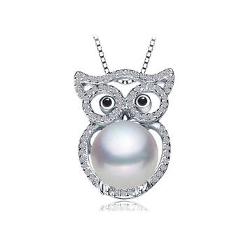 Natural Freshwater Pearl Cut 925 Silver Plated White Gold: War In Paradise Owl Fund 10-11mm Will Pearl Have No Time Light