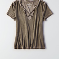 AEO Soft & Sexy Strappy Split-Neck T-Shirt, Dusty Olive