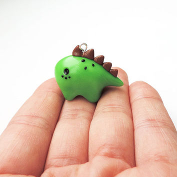 Polymer Clay Green Kiwi Stegosaurus Dinosaur Charm Necklace