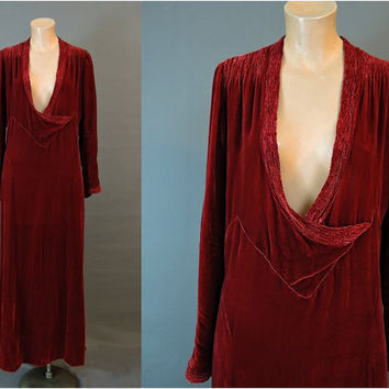 1930s AS-IS Velvet Dress, 44 bust, XL Burgundy Vintage 30s Evening Gown, Has holes and repairs