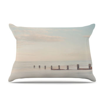 "Laura Evans ""The Rising Tide"" Brown Gray Pillow Case"