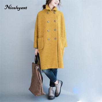 Nicelegant Autumn Winter Korean Version Women Coat Double breasted  Turn Down Fit for Fat MM Thick Wool Blend Coat