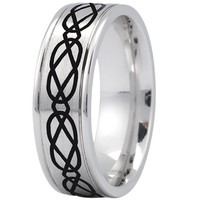 Wedding Band - Celtic Mens Ring with Black Rhodium