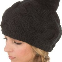 Amazon.com: EH3031NB - Cable Knitted with Pom Pom Thick Slouch Fashion Beanie /Beret /Winter Hat ( 8 Colors ) - Black/One Size: Clothing
