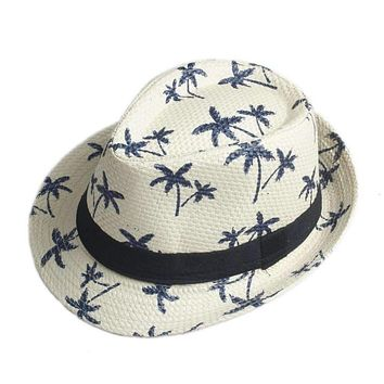 10 Color Children Summer straw Sun hat  kids Boho Beach Sunhat Fedora hat Trilby panama Hat handwork for boy girl Gangster Cap