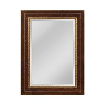 Darcey Wood Frame Mirror In Walnut And Roman Gold - Large