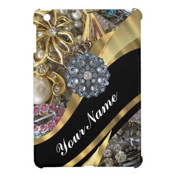Black & gold bling iPad mini cases from Zazzle.com