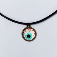 Eyeball charm choker, glass bubble eye charm with genuine leather cord adjustable necklace