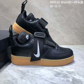 KUYOU N837 Nike Air Force 1 AF1 Utility QS Low Leather Casual Skate Shoes Black