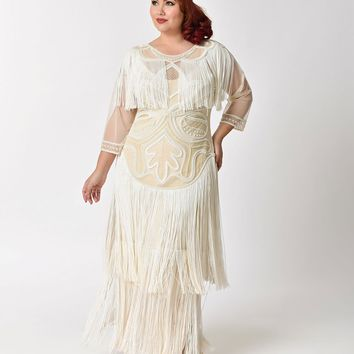 Plus Size 1920s Style Cream Pearl Beaded Mesh Glam Fringe Flapper Maxi Gown
