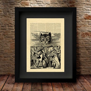 Cheshire Cat, CHESHIRE CAT and the executioner, Alice in Wonderland Wall Art, Book Page Print, Alice POSTER, Alice in Wonderland decor -56