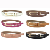 New Lovely Women Girl Buckle Candy Color Thin Skinny PU Leather Belt = 1958607428
