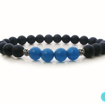 Men's Matt Black Onyx and Blue Apatite Sterling Silver Stretch Bracelet, Black Onyx and Blue Apatite Sterling Silver Bali Beads Bracelet
