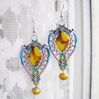 Bohemian micro macrame earrings - Yellow Purple Blue Chartreuse Boho Free Spirit Unique Beadwork Picasso beads