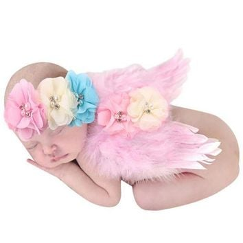 PEAPUNT Lovely Newborn Photography Props Baby Boys Girls Angel Wings Set Feather Butterfly Wings Girls Hair Accessories