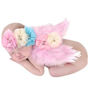 ICIKWQA Lovely Newborn Photography Props Baby Boys Girls Angel Wings Set Feather Butterfly Wings Girls Hair Accessories