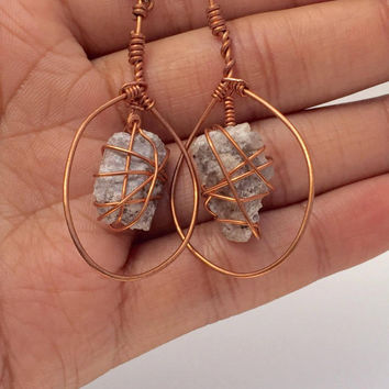 Utah Topaz - Rhyolite - Gemstone Jewelry - Raw Topaz - Hoop Earrings - Wire Wrapped Earrings - Dangle Earrings - Raw Crystal Earrings